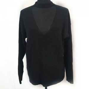 Forever 21 V High Neck Sweater Black S Cutout Mock